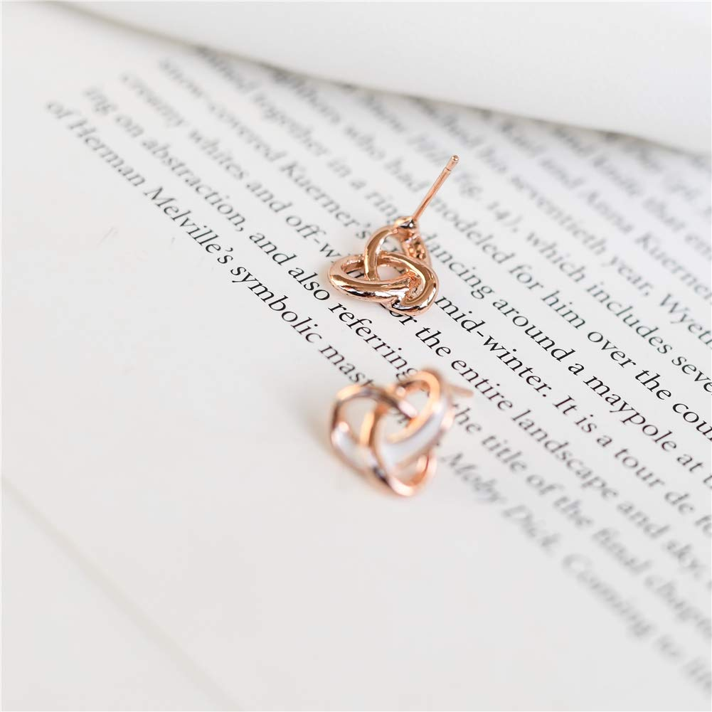 MIUPER BLOsssM Rose Gold Plated Alloy Small Trinity Love Knot Two Tone White Enamel Twist Stud Earrings for Women