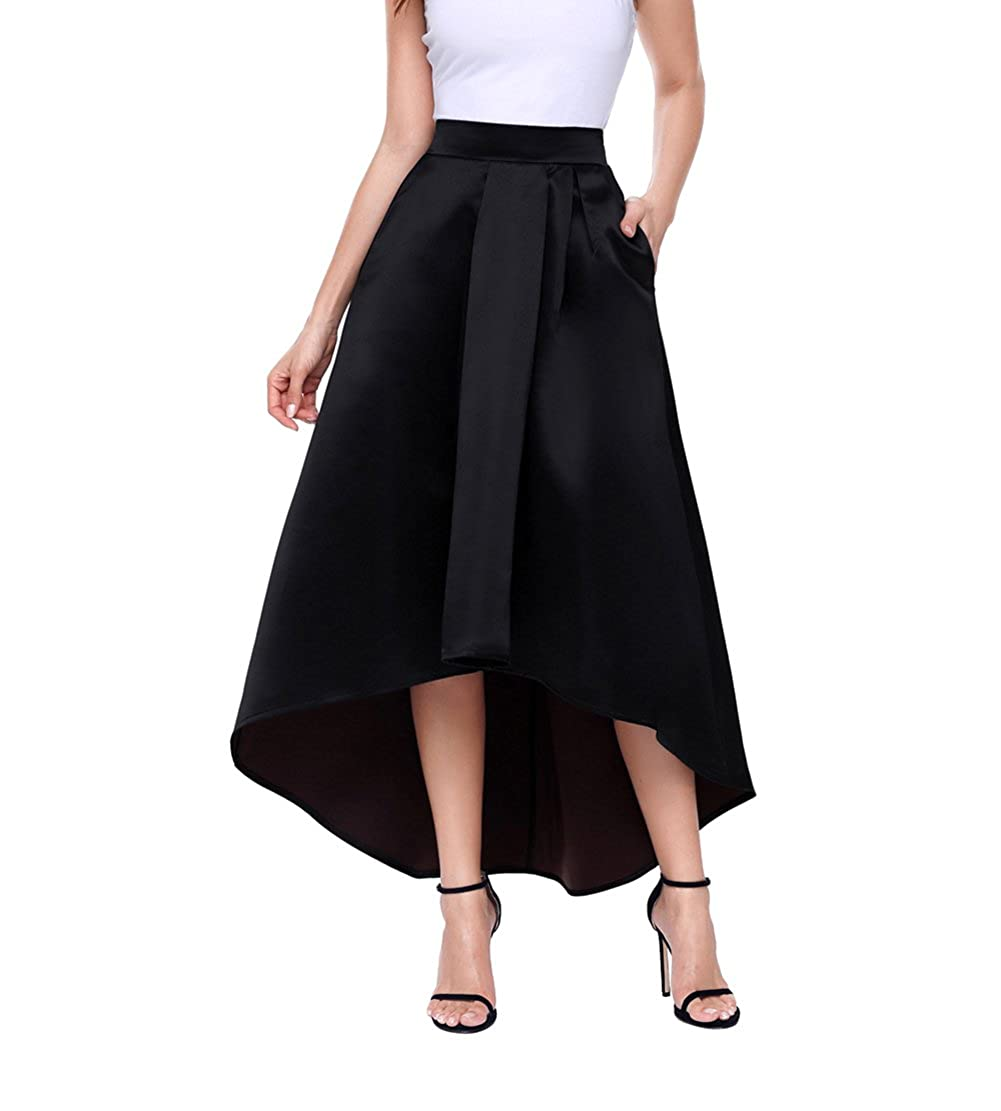 0b2737ec3 Flared with maxi length and hi-low hem. Empire waist style greatly add your  elegance. Made of quality fabric, healthy and comfortable to wear