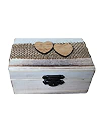 Dovewill Rustic Wooden Heart Ring Boxes Wedding Valentines Ring Holder Jewelry Box