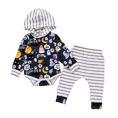 Hatoys 3PCS Halloween Costume Newborn Baby Girls Boys Letter Pumpkin Romper Jumpsuit Pants Hat Clothes Set (24M(Height:95-100CM), Multicolor)