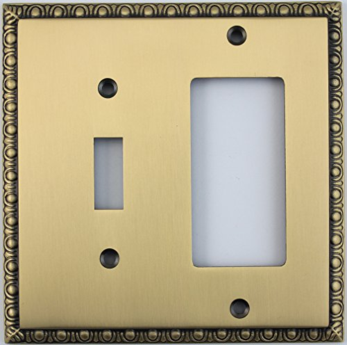 Egg & Dart Antique Brass 2 Gang Combo Switch Plate - 1 Toggle Light Switch 1 GFI Outlet/Rocker Switch