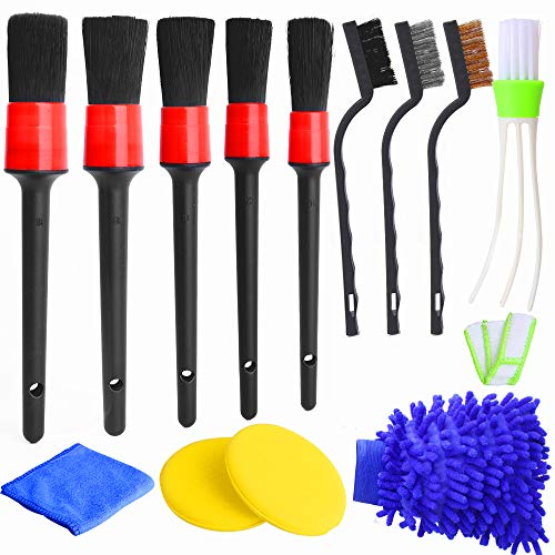 Hicdaw 13Pcs Detailing Brush Set Car Detailing Kit for Auto Detailing Cleaning Car Motorcycle Interior, Exterior,Leather…