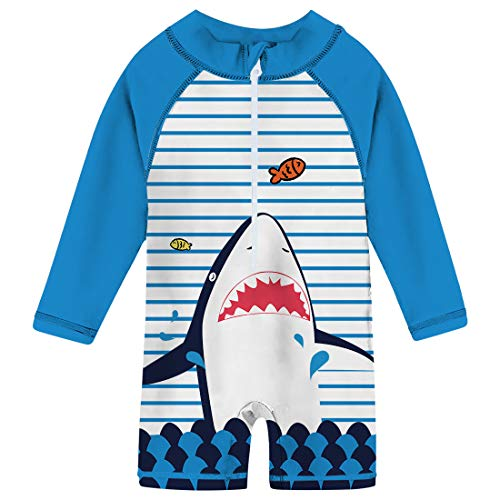 (uideazone Newborn Toddler Infant Baby Boys Shark Striped Printed Swimsuit Cute Long Sleeve One Piece Swimwear Beach Batching Suit 6-12 Months Blue)