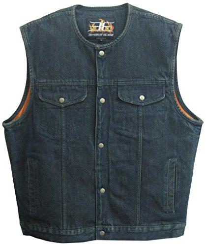 Bikers Edge Men's Denim Collarless Club Style Vest (Blue, X-Large)