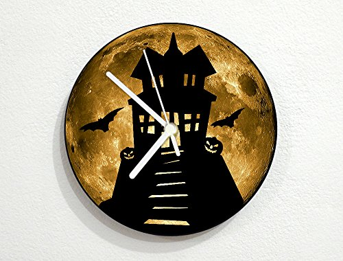 (inPhoenix Halloween Haunted House - Yellow Full Moon - Scary Trick or Treat - Holiday - Universe Stars Space Galaxy Solar Planet - Custom Name Wall)
