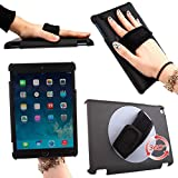 iPad Air 2 Case, KINDEN Handheld 360 Rotating Holder Ipad Air 2 Back Cover With Adjustable Hand Strap Slim Lightweight 2 Cover 9.7 Inch 2014 Tablet (Black, Not fit iPad Air 2013)
