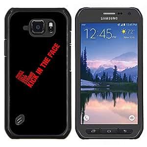Caucho caso de Shell duro de la cubierta de accesorios de protección BY RAYDREAMMM - Samsung Galaxy S6Active Active G890A - Red Cita Sangre Texto Negro Sí Kick