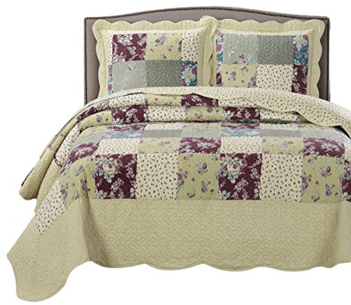 Royal Hotel Tania Oversized Coverlet Set, Luxury Printed Design Quilt, Bedspread Set - Filled Quilts - Fits Pillow top Mattresses - 3PC Set - Queen Size