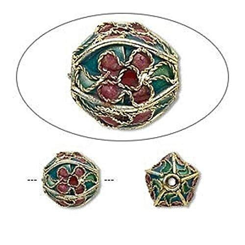 4 Gold Plated Turquoise Green Mix Cloisonne 10Mm Round Beads
