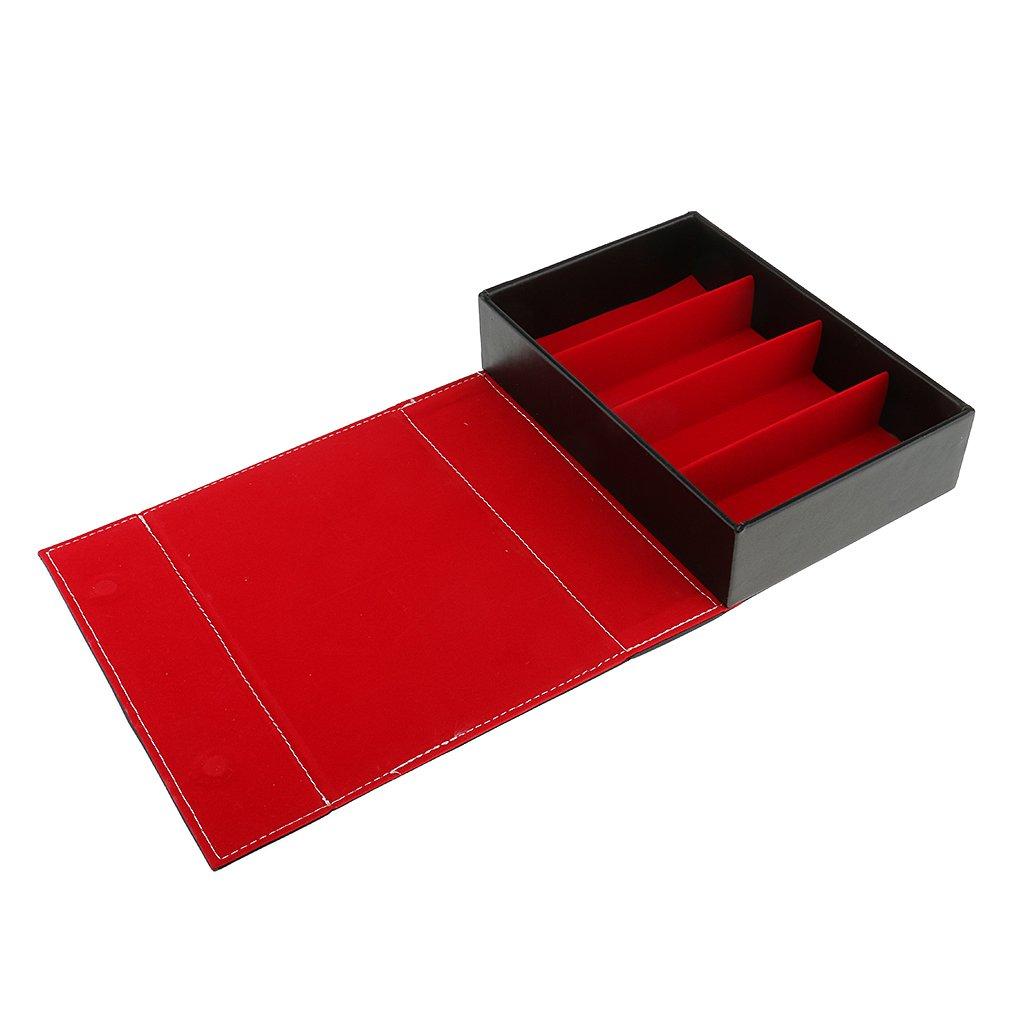 MagiDeal 4 Slot Caja de Almacenamiento de PU Cuero de Gafas de Sol Organizador Exhibiciónde Vidrios - Rojo