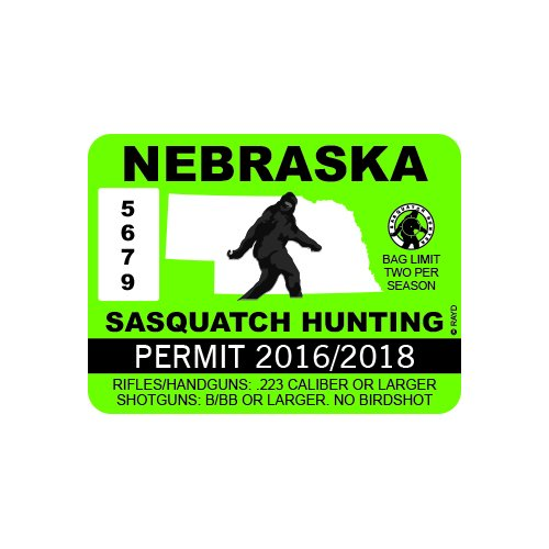 Rdw nebraska sasquatch hunting permit color sticker for Nebraska fishing license cost
