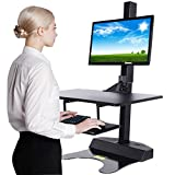 Standing Desk Riser, Freemaxdesk Electric Power Remote Control Height Adjustable Sit to Stand Desk Converter with Monitor Vesa Mount ,Worksuface(26''x21'')