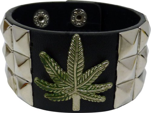 JTC-Belt-Triple-Studded-Leather-Adjustable-Bracelet-Marijuana