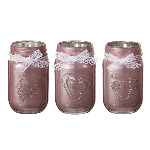 V-More Rose Gold Laser Cut Mercury Glass Mason Jar with Heart Patterns and Lace Bowknot Candle Holder Tealight Holder For Home Decor Wedding Party Celebration Glass Love Heart Tealight Holder