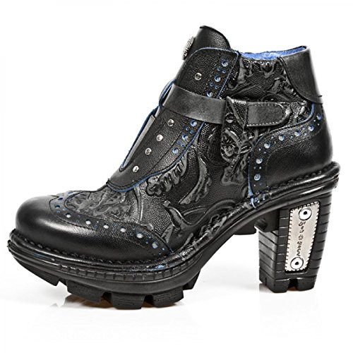 Nuovi Stivali Di Roccia M.neotr003-c12 Gotiche Damen Hardrock Punk Stiefelette Schwarz