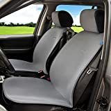 Sojoy Universal Four Season Fashionable Car Seat Cushion Cover for Front of 2 Seats (Dark Gray)