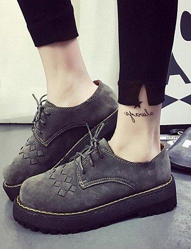 ZQ hug Zapatos de mujer-Plataforma-Comfort / Punta Redonda-Sneakers a la Moda-Casual / Vestido-Semicuero-Negro / Gris , gray-us8 / eu39 / uk6 / cn39 , gray-us8 / eu39 / uk6 / cn39 black-us5.5 / eu36 / uk3.5 / cn35