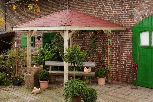 Gartenoase 651 - Ausführung: Gr. 1 mit Dachschindeln, Schindel- bedarf: 5 Pkt, Bemaßung: Firsthöhe 275 cm, Traufhöhe 196 cm, Außenmaß: 294 x 294 cm