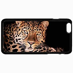 Customized Cellphone Case Back Cover For iPhone 6 Plus, Protective Hardshell Case Personalized Beasts Breathtaking View Of The Leopard 29298 Black