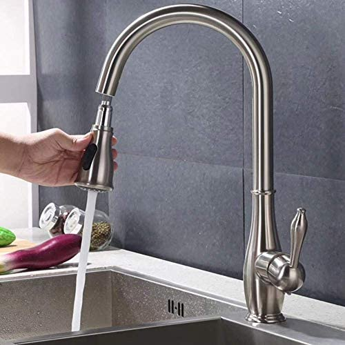 水タップアメリカンプル銅キッチン用蛇口ホット&コールドプルタイプユニバーサル回転式伸縮シンク浴室洗面台蛇口クローム実用的
