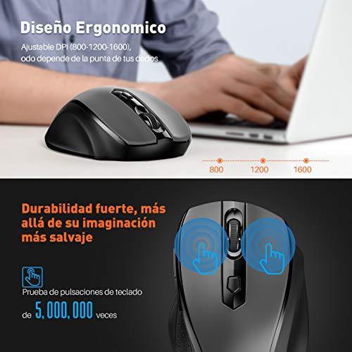 VicTsing Pack de Teclado y Ratón Inalámbricos (QWERTY Español 104 Tecla, USB, 2.4GHz, para PC, Mac, Tableta, Ordenador, Smart TV) (Versión Funcional): ...