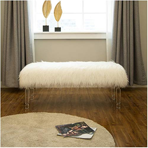 Glitzhome Luxurious Faux Fur Bench with Acrylic Legs Bedroom Furniture White 44.88 Inch Length (Furry Ottoman Storage With)