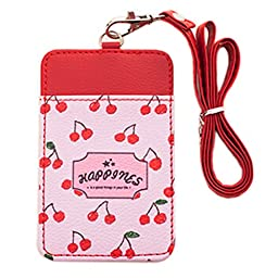 Cute Credit Card Case ID Card Holder Keyring With 2 Card Slots, Cherry