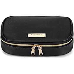 Jewelry Roll Travel Organizer Case Bag Box with Zipper Women Jewelry Bags Necklace and Earring Drawer Storage Pouch (Black)