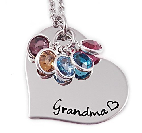 Grandma Heart Birthstone Necklace - Hand Stamped Personalized Jewelry