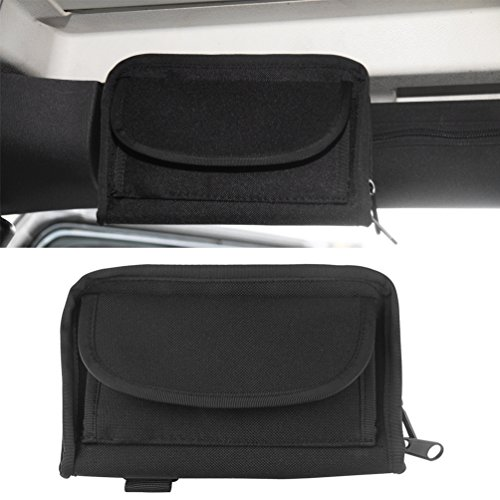 Rugged Ridge Roll Bar - MINGLI 1PC Roll Bar Sunglasses Holder Storage Bag Pocket for Jeep Wrangler JK Unlimited 2/4 Door Black Small Things Accessories Storage Pouch