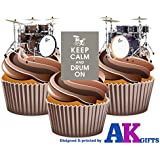 Keep Calm Drums Mix Edible Stand-up Cupcake Toppers by AKGifts