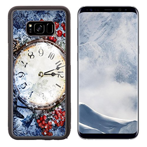 Luxlady Samsung Galaxy S8 Plus S8+ Aluminum Backplate Bumper Snap Case IMAGE ID: 34215042 Christmas Eve and New Years at midnight Clock covered with snow (Christmas Buy Eve Best Hours)