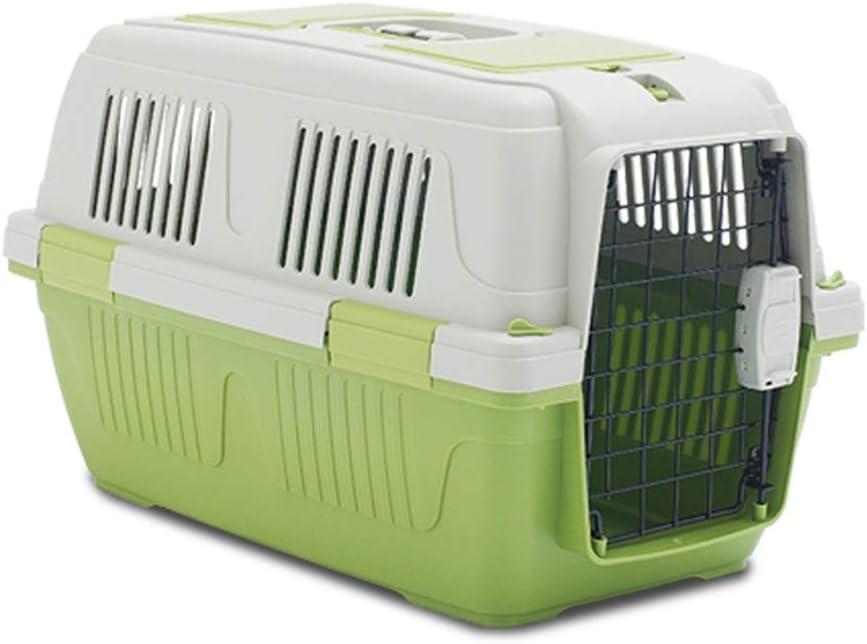 ペット ベッド ポータブルトップロード猫犬小屋ペットプラスチックキャリアのクレート屋外犬猫ペットの旅のクレート ペットドッグベッド (色 : 緑, Size : 63 x 41 x 40cm)