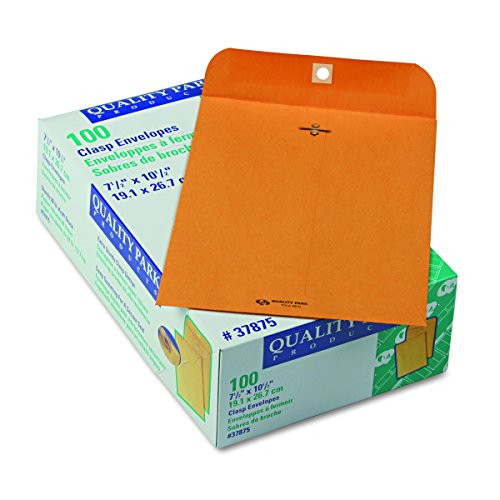 Quality Park Gummed Kraft Clasp Envelopes, 7.5 x 10.5, Box of 100  (37875)