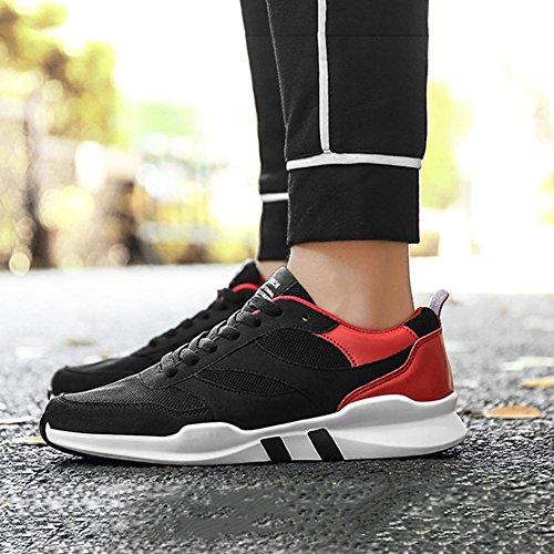 Scarpe da uomo sneaker maglia Scarpe da corsa autunno inverno slittata luce traspirante maschio studente tempo libero Scarpe sportive , Red , 42