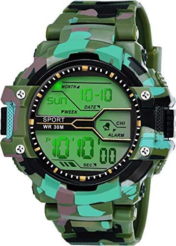 Fadiso Fashion Digital Men's Watch (Green Dial Multicolored Strap)