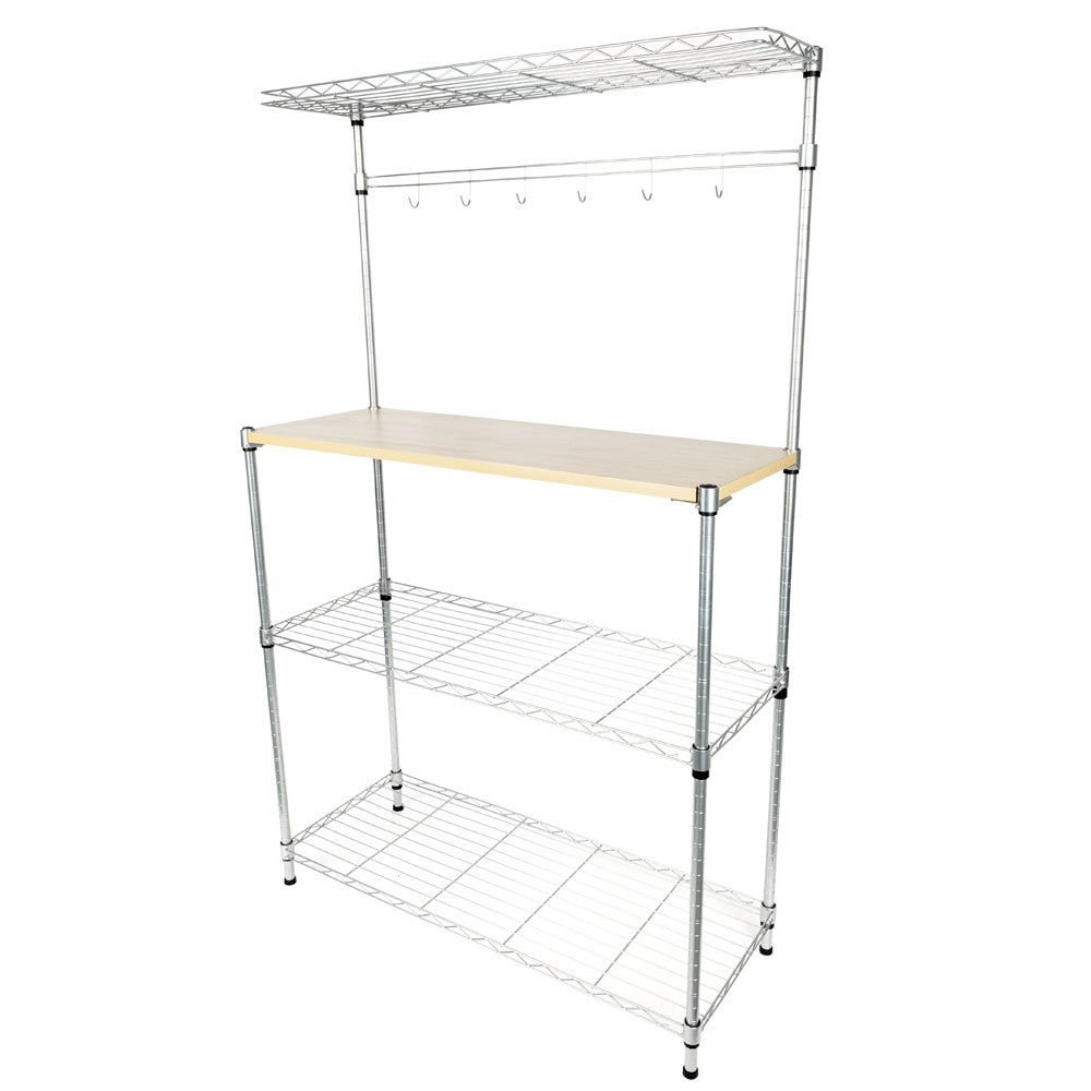 TimmyHouse Bakers Rack Storage Rack Microwave Oven Stand w/Cutting Board Chrome 4-Tier