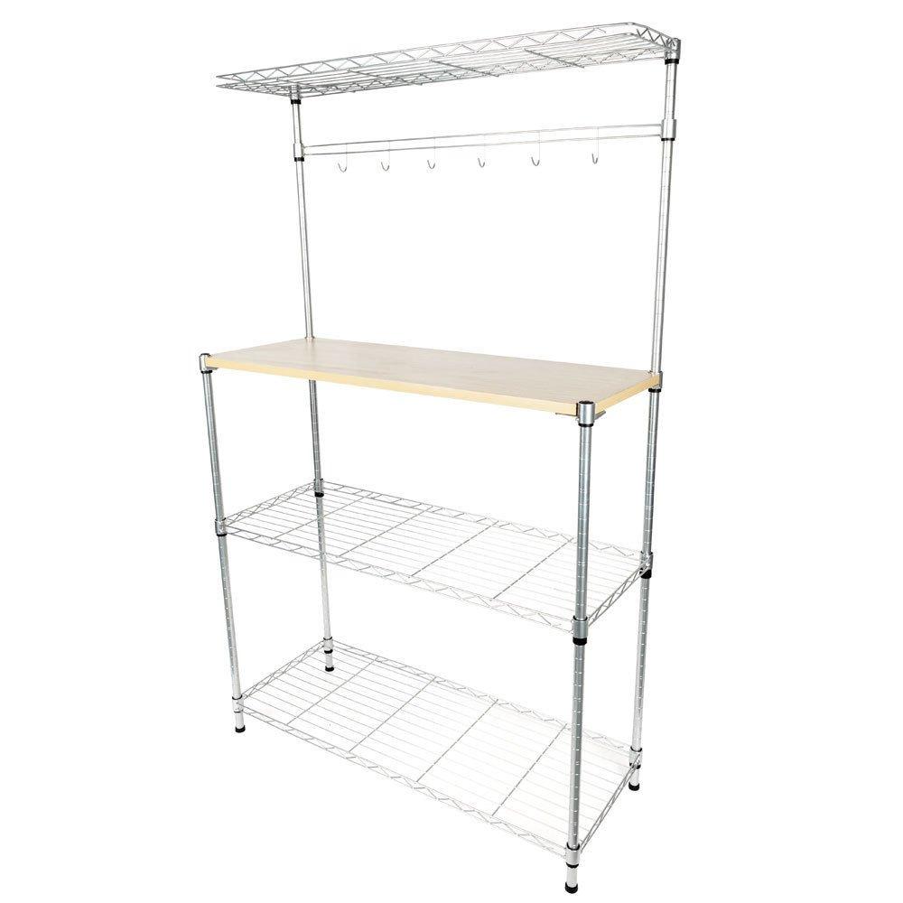 TimmyHouse Baker's Rack Kitchen Utility Microwave Oven Stand Storage Cart Workstation Shelf