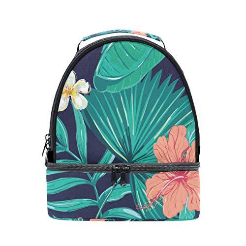 Folpply Tropical Imprimé floral Boîte à lunch Sac isotherme Cooler Tote avec bandoulière réglable pour Pincnic à l'école
