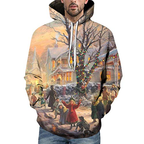 Houshelp Men 3D Print Pullover Hoodie Sweatshirt with Front Pocket Casual Pullover Long Sleeve Christmas Jacket