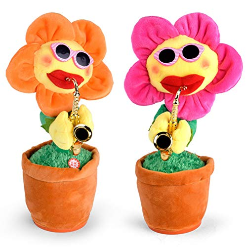 Balai Musical Jumbo 72 Songs and Singing Dancing Saxophone Sunflower Soft Plush Potted Funny Creative Electric Toys Stuffed Toy Animated Flower Doll Light Music Gift for Kids and Adults(Random Color)]()