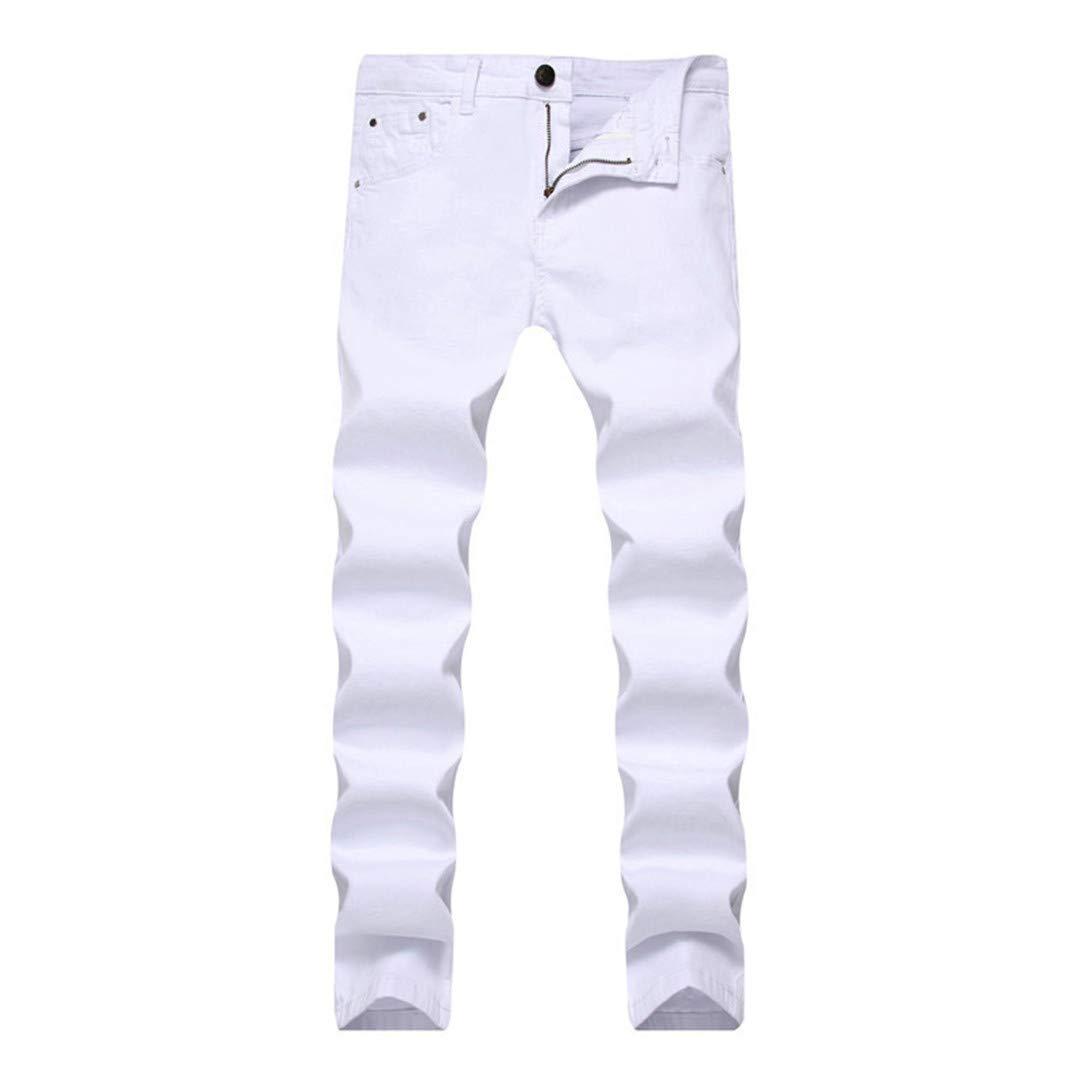 Skinny Jeans Mens Solid Multi Color Elastic Slim Casual Pants Nightclub Vogue Men Red White Blue Trousers