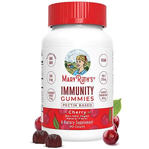 Immunity Gummies by MaryRuth's - Immune System Booster for Kids & Adults - Echinacea, Elderberry, Vitamins C, D & Zinc - Organic Ingredients Vegan Non-GMO Gluten-Free Pectin-Based Cherry Flavor 90ct (Best Vitamins For Toddlers Immune System)