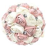 Abbie-Home-Romantic-Bride-Wedding-Holding-Bouquet-Roses-Pearl-Rhinestone-Ribbon-Dcor-205PI