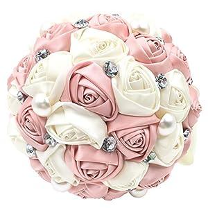 Abbie Home Romantic Bride Wedding Holding Bouquet Roses-Pearl Rhinestone Ribbon Décor (205PI) 97