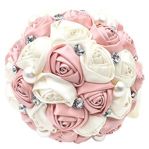 Abbie Home Bride Bouquets - Wedding Bouquet for Bride Rose Diamond Artificial Flowers-Pink