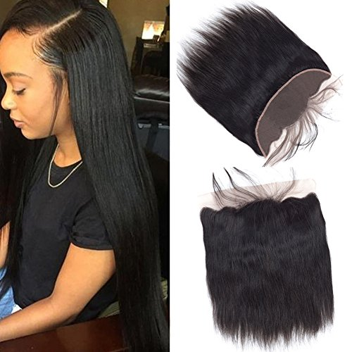 Sky Human Hair Ear To Ear Lace Frontal Closure Free Part Unprocessed Brazilian Straight Frontal Full Lace 13X4 Free Part Top Lace Front Closure With Baby Hair Natural Color (10) Review