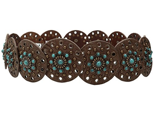M&F Western Women's Nocona Wide Concho Disk Belt Brown/Turquoise LG (38