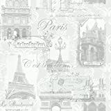 Paris Wallpaper France City Eiffel Tower Buildings Typography Silver Grey White