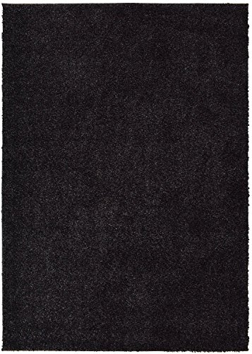 RugStylesOnline SOHO Shaggy Collection Solid Color Shag Area Rug Rugs 7 Color Options, Anthracite, Black